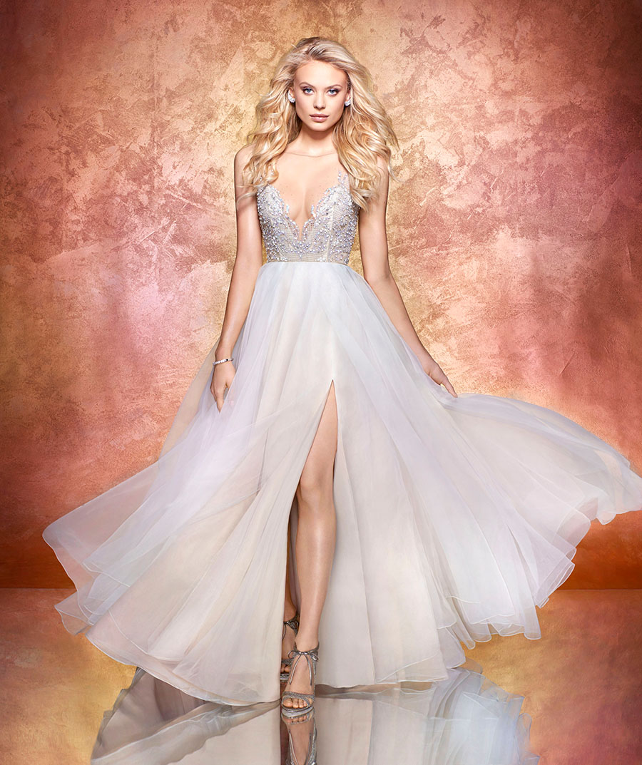 44f0a5fb507b Moondust organza A-line bridal gown, prismatic illusion bodice with bateau  neckline and V-neck beaded detail, open net back with stardust frame, ...