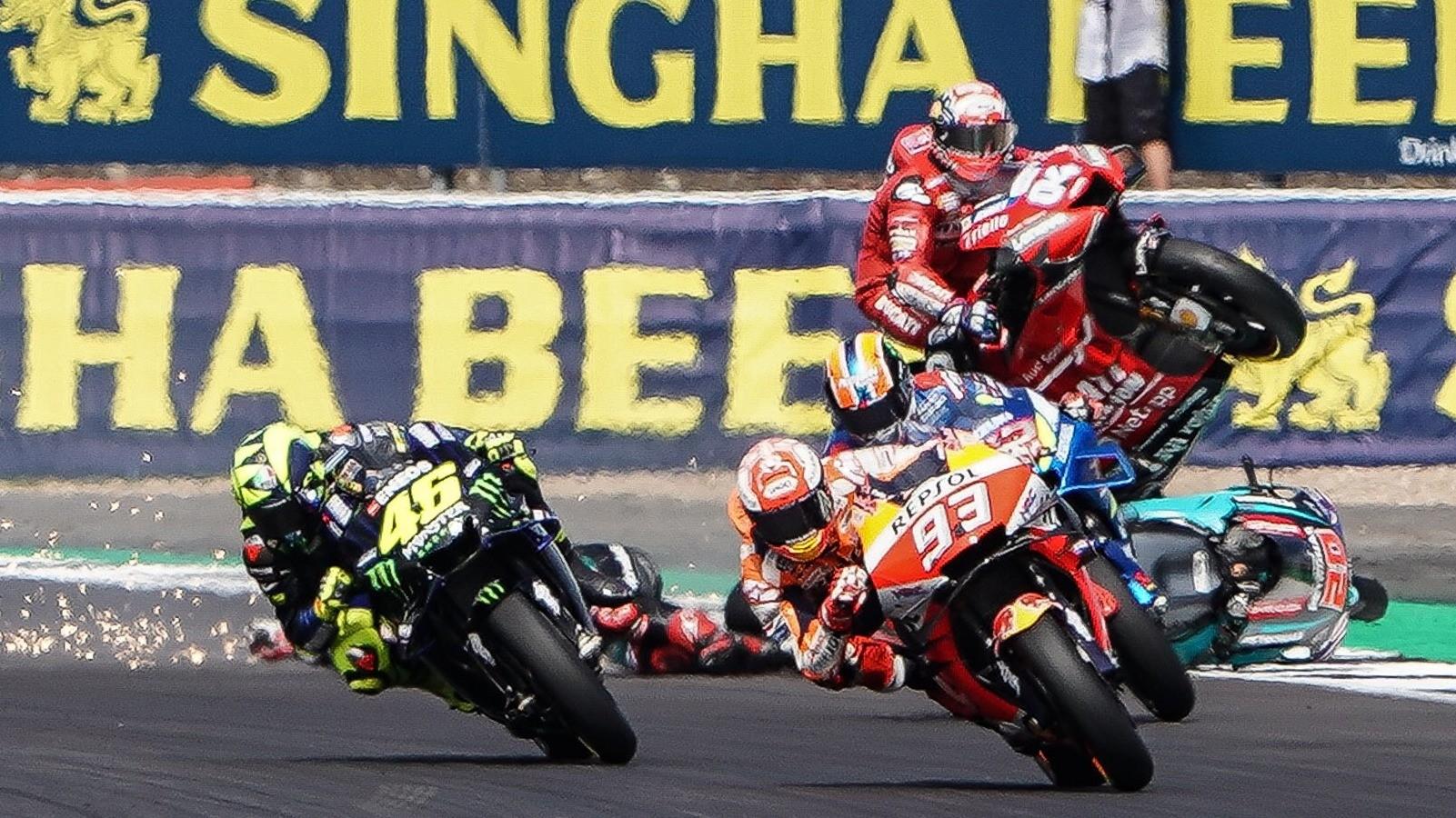 Marc Marquez, Valentino Rossi dan Andrea Dovizioso di Inggris