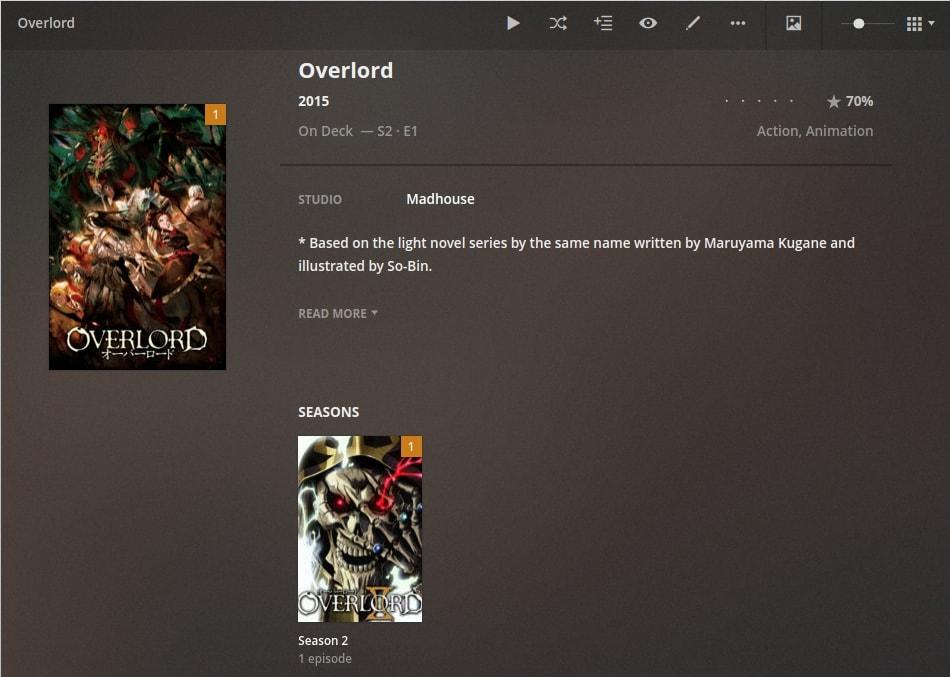 anime overlord on plex