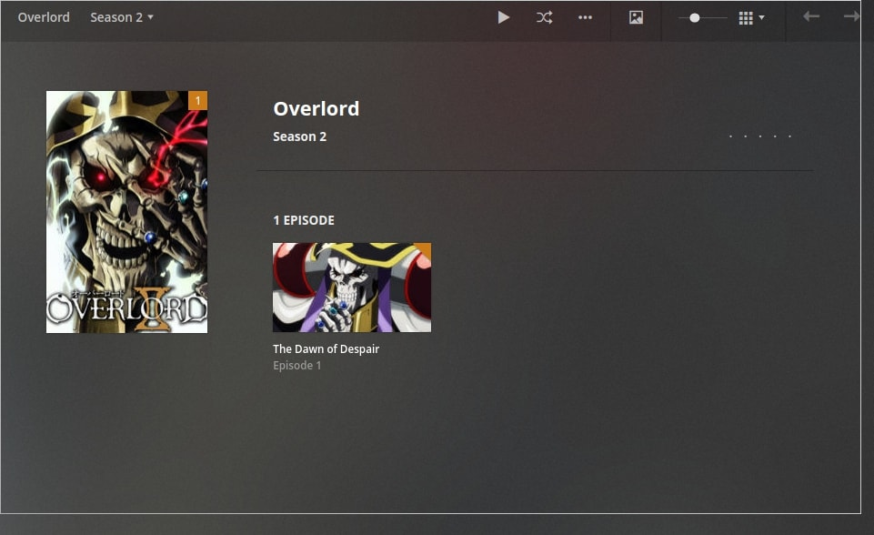 anime overlord on plex - episode name