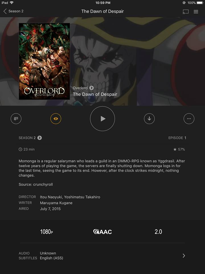 enjoy overlord anime on ipad
