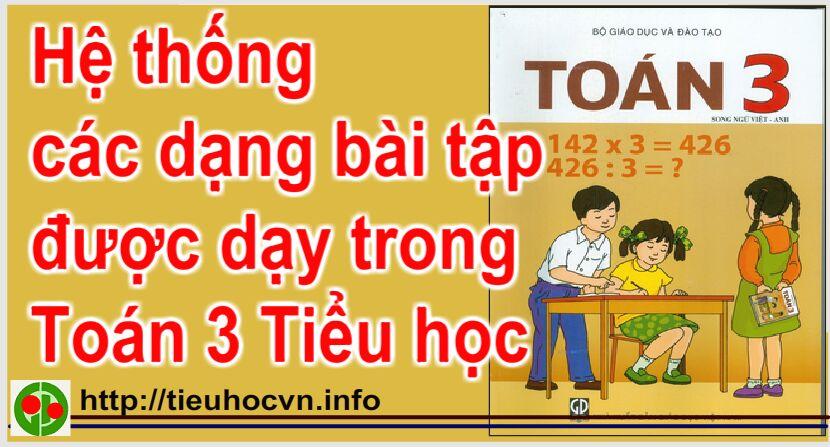 Hệ thống các dạng bài tập  được dạy trong Toán 3 Tiểu học | Math Grade 3