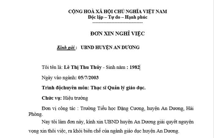 Đơn xin ra khỏi ngành giáo dục Của Bà Thủy Hiệu trưởng Trường tiểu học Đặng Cương - huyện An Dương