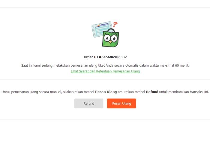 rebooking pesan ulang otomatis tiket tokopedia