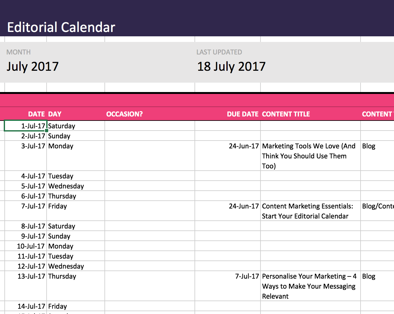 Content Marketing Essentials Start Your Editorial Calendar Free - Sample marketing calendar