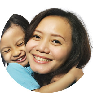 Philippines woman with child happy with renting
