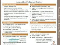 Advanced Excel for Business Modeling - Workshop on 7th October2012 at Chennai