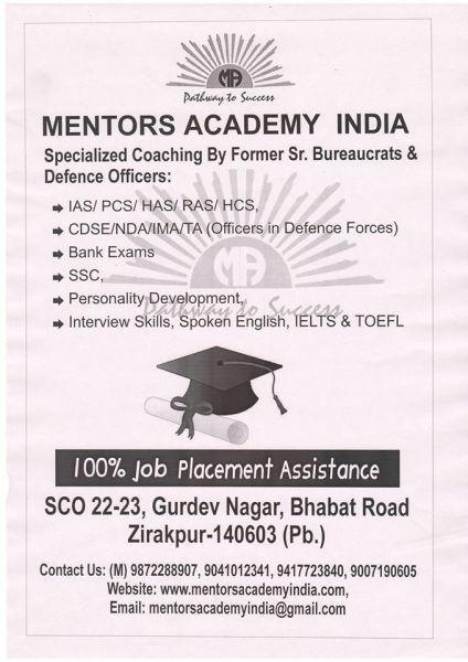 mentors academy india in mohali sas nagar  chandigarh