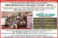 Rudrani Badminton Academy Badminton institute in Mumbai