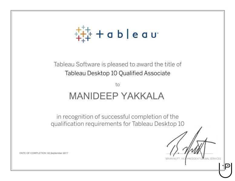 Manideep Kumar Y  - Tableau Certified in Pragathi Nagar