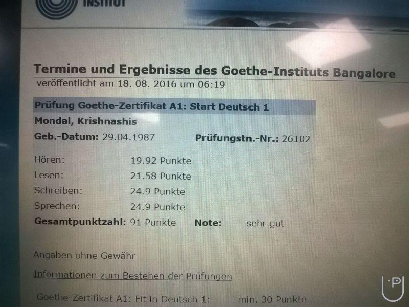 Goethe institut a1 test