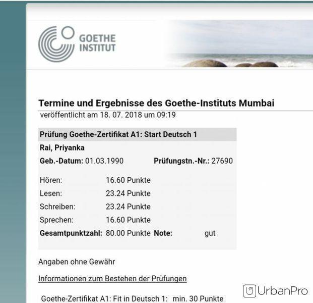 Prachi P. - Home Tutor in Panchpakadi, Thane for German Language