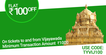 Pondicherry To Hyderabad Bus ticket Booking to Vijayawada with Flat Rs.100 off