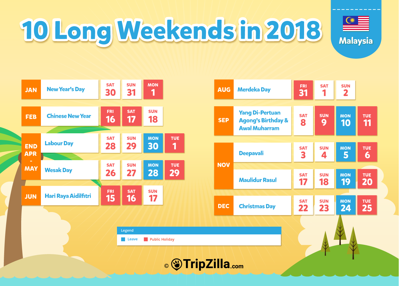 10 Long Weekends In Malaysia In 2018