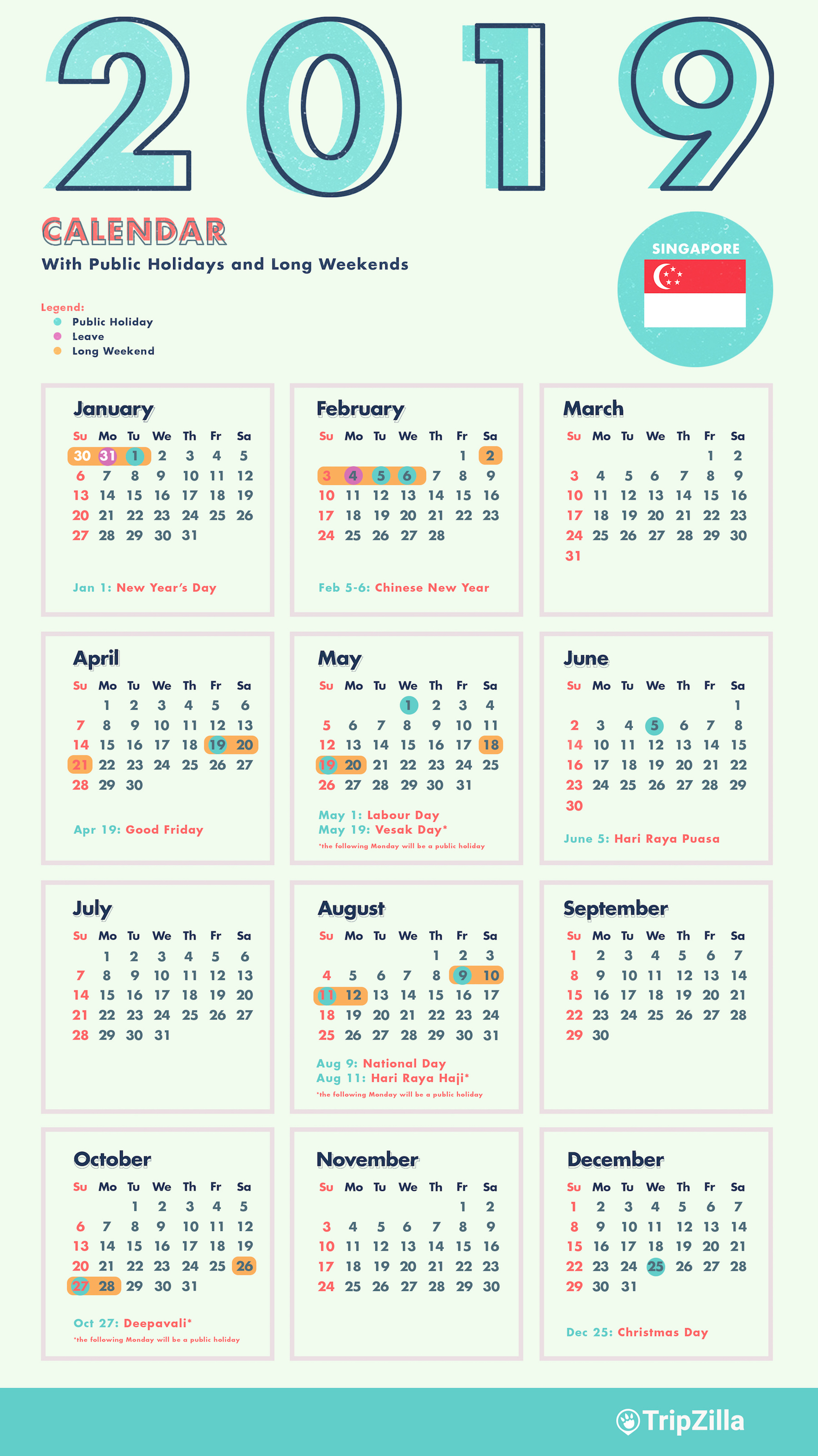 singapore 2019 public holidays and long weekends calendar new years day