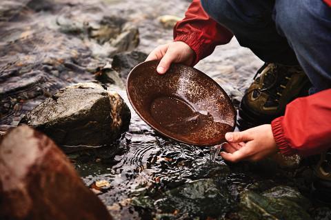Gold panning in Juneau, Alaska