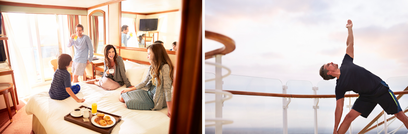 Princess Cruises 24-hour Room Service and yoga on deck