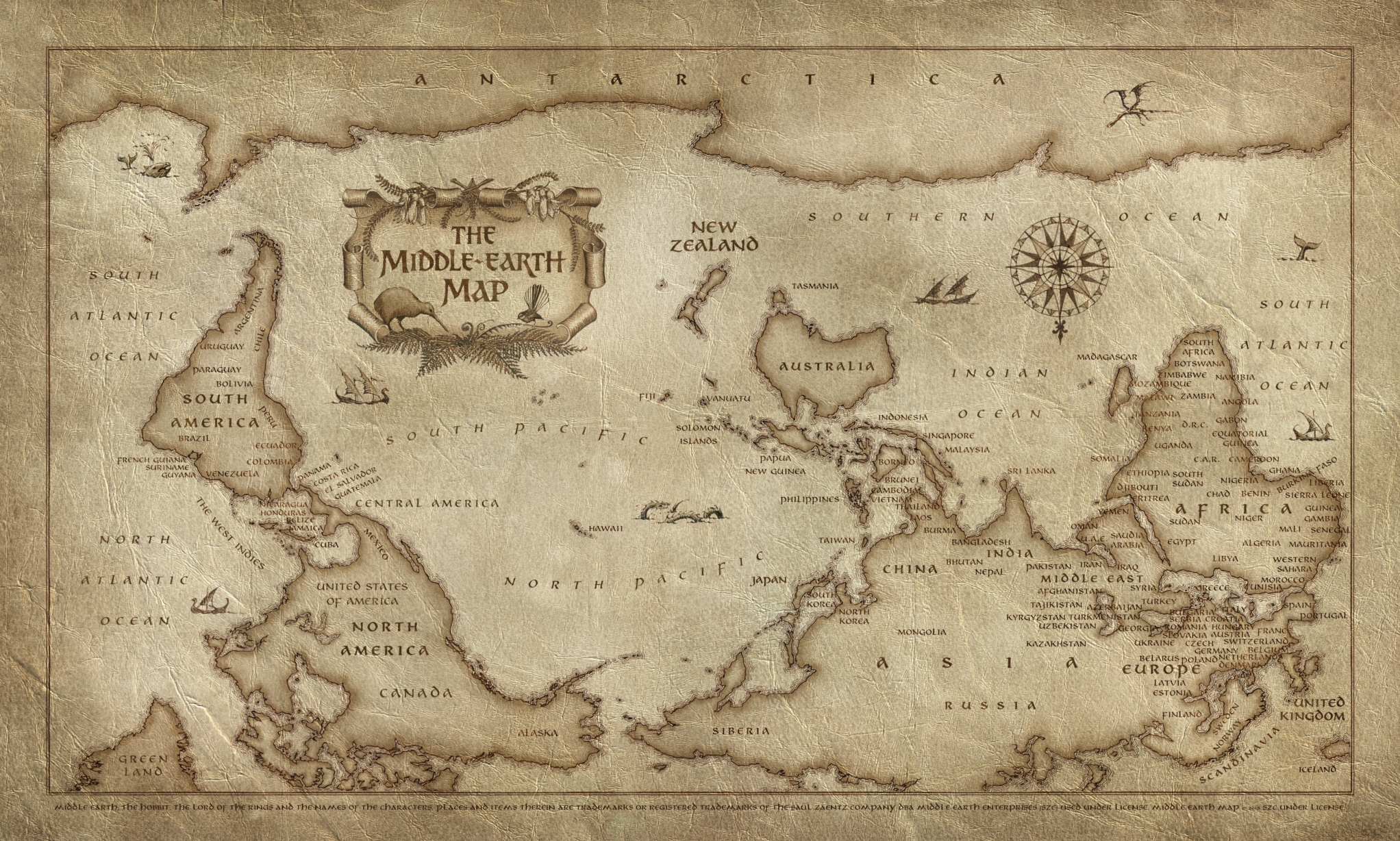New Zealand creates new world map with itself as Middle Earth