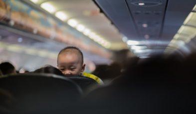 crying baby on plane