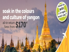 Fly to Yangon with TigerAir from SGD170*