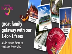 Great Family Getaway:1-For-1 Fares to Thailand with Tigerair