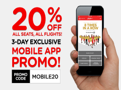 Enjoy 20% Off All Seats with AirAsia's Mobile App Bookings