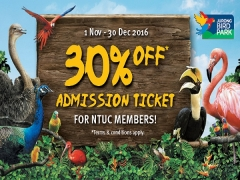 Enjoy 30% Off Admission Tickets to Jurong Bird Park with NTUC Card