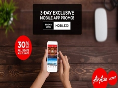 Enjoy 30% Off All Seats on Bookings with AirAsia thru Mobile App