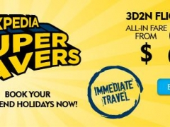 Expedia Super Savers 3D2N Flights + Hotel from $80