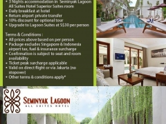 Bali Experience. Stay 3 Pay 2 Seminyak Lagoon All Suites Hotel from SGD288!