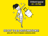 Scoot to 22 Destinations with 20% Off Flights Exclusive for Citibank Cardholders