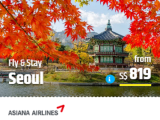 3D2N + Flight with Asiana Airlines to Korea via CheapTickets.sg from SGD819