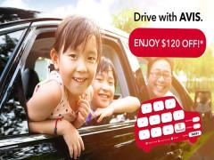 Enjoy SGD120 Off your Car Rental with Avis
