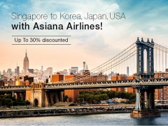 Fly to Korea, Japan and USA at 30% Off with Asiana Airlines