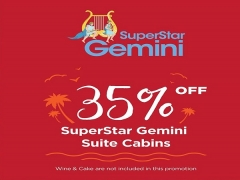 35% Off on SuperStar Gemini Suite Cabins with Star Cruises