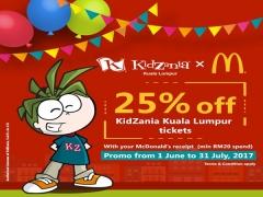 25% Off KidZania Kuala Lumpur Admission Tickets with McDonald's