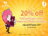 20% Off KidZania Kuala Lumpur Tickets Exclusive for U Mobile Customers
