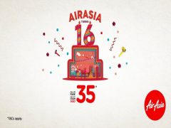 Celebrate AirAsia's 16th Birthday with Fares from SGD35