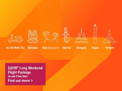 $2018^ Long Weekend Flight Package in Jetstar is Available now!