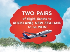 WIN Flight Ticket for 2 to Auckland from Sunway Lagoon