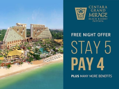 Stay 5 Pay 4 in Centara Grand Mirage Beach Resort Pattaya