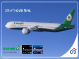 5% Off Regular Fares in Eva Airways Flight with Citibank