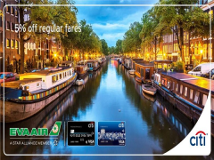 5% Off Regular Fares to Europe with Eva Airways and Citibank