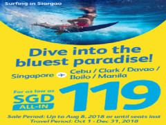 Fly to Philippines with Cebu Pacific from SGD119