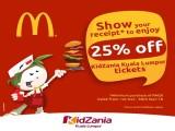 Enjoy up to 25% Off Admission Ticket to KidZania Kuala Lumpur with McDonald's Receipt