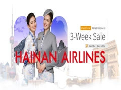 3-Week Sale at Hainan Airlines with Up to 15% Off Flight Savings