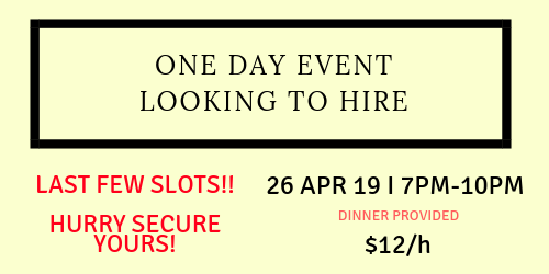 Event Support @ $12/Hour - ONE DAY EVENT