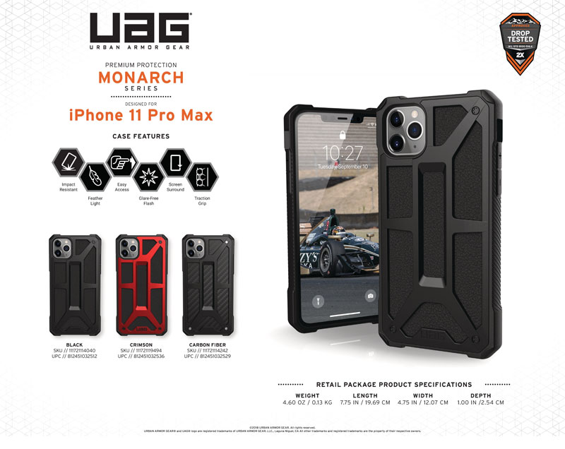 Op lung iPhone 11 Pro Max UAG Monarch Series Crimson 02 bengovn