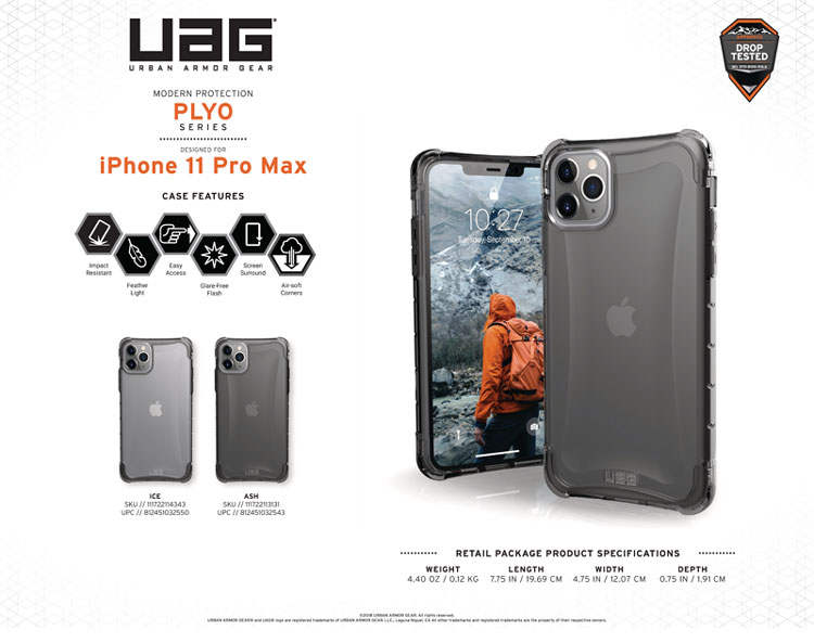 Op lung iPhone 11 Pro Max UAG Plyo Series Ice 10 bengovn