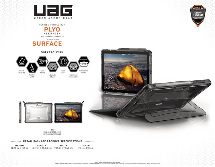 Op lung Microsoft Surface Pro 6 5 4 UAG Plyo 10 bengovn